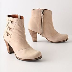 Holding Horses   Buckled triad Cream Suede Booties